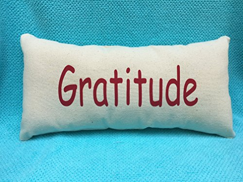 Gratitude Grateful Red and Canvas Beige Lumbar Pillow Inspir