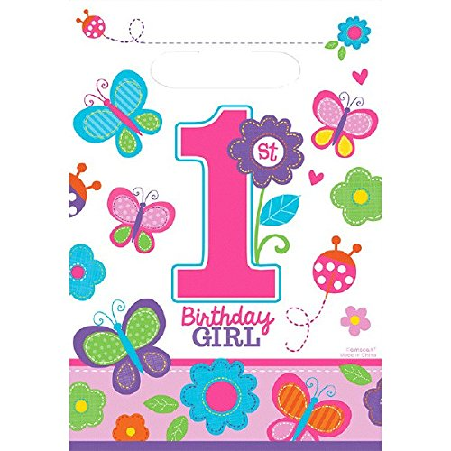First Birthday Loot Bags (Flowers and Butterflies Girl's 1st Birthday Party Folded Plastic Loot Bags, 9.5