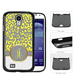 Customized Yellow and Gray Leopard Pattern Animal Print with Gray and White Vertical Stripes on Bottom and Yellow Gray Round Monogram in Center Outlined in Gold Hard Plastic Snap On Cell Phone Case Samsung Galaxy S4 SIV I9500