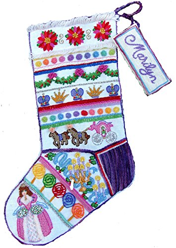 Crewel Embroidery Christmas Stockings - 'Princess' Crewel Christmas Stocking