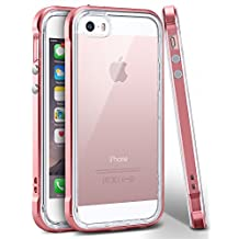 iPhone SE Case, Ansiwee Reinforced PC Frame & Highly Durable Crystal Slim Shock-Absorption Flexible Soft Rubber TPU Bumper Hybrid Protective Case for Apple iPhone SE / iPhone 5s & 5 (Rose Gold)