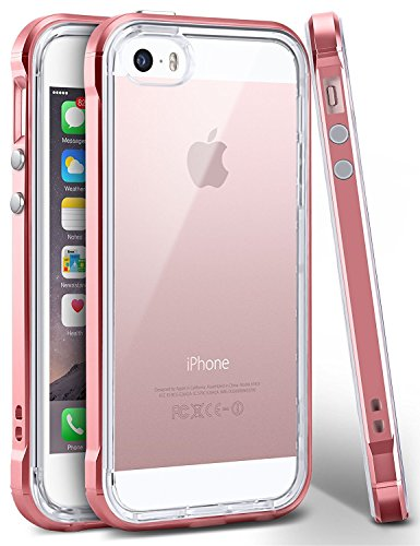 iPhone SE Case, Ansiwee Reinforced PC Frame Highly Durable Crystal Slim Shock-Absorption Flexible Soft Rubber TPU Bumper Hybrid Protective Case for Apple iPhone SE/iPhone 5s 5 (Rose Gold)