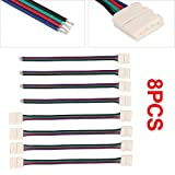 8 x Connector Cable Adapter For RGB LED SMD Strip Stripe