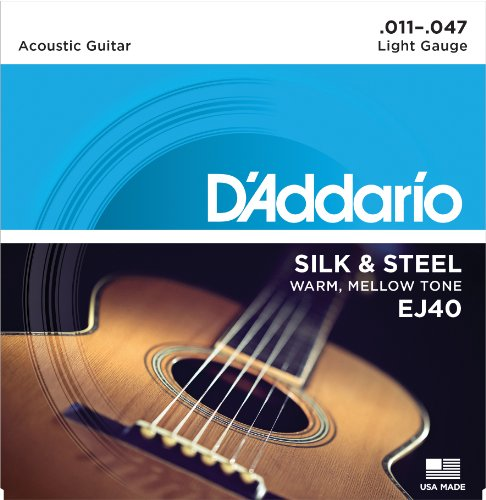 Folk Acoustic Guitar Strings - D'Addario EJ40 Silk & Steel Folk Guitar Strings, 11-47