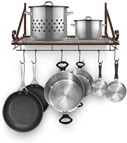 Sorbus Pots and Pan Rack — Decorative Wall Mounted Storage Hanging Rack — Multipurpose Wrought-Iron shelf Organizer for Kitchen Cookware, Utensils, Pans, Books, Bathroom (Wall Rack - Bronze) (Holder Kitchen Wall)