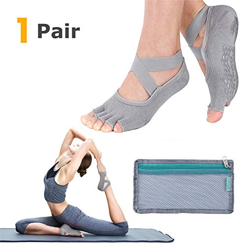- Hylaea Yoga Socks for Women with Grip & Non Slip Toeless Half Toe Socks for Ballet Pilates Barre Dance Gray