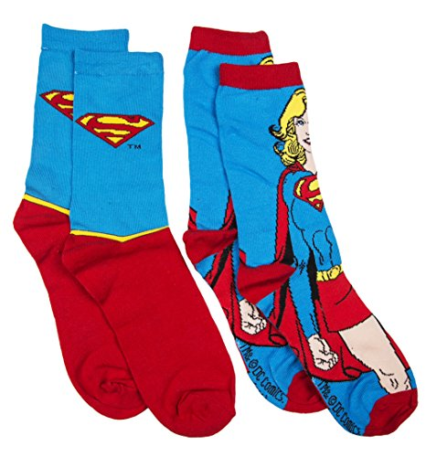 [Womens DC Comics Supergirl 2pk Socks] (Supergirl Costumes Plus Size)