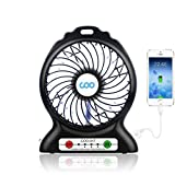 Portable USB Fan Battery Operated Fan with Flashlight, Quiet and Powerful Rechargeable Desk Fan for Phone Charge,Outdoor,Office,Backpacking (Black)