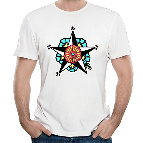- Star Floral Man Tops Tee Shirts White