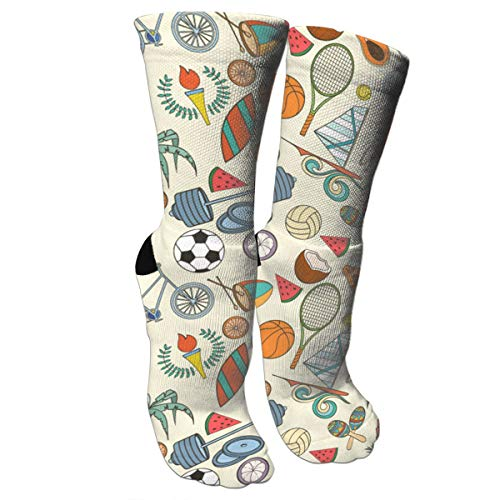 Msd8sd2w Soccers and Tennis Racket Men's/Women's Sensitive Feet Wide Fit Crew Socks and Cotton Crew Athletic Sock