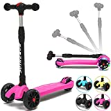 Kick Scooter For Kids, 3 Widening and Thickening PU Flashing Wheels, Adjustable Height Kids Scooter with a Folding System, Best Gifts for Children from 3 to 17 Year-Old, Surface Balance Technology