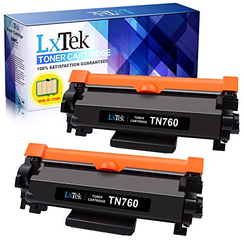 LxTek Compatible Toner Cartridge Replacement for Brother TN760 TN 760 TN730 to use with HL-L2350DW DCP-L2550DW MFC-L2710DW HL-L2395DW MFC-L2750DW HL-L2370DW HL-L2390DW Printer (Black, 2-Pack) Compatible Laser Toner Drum