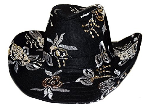 Sequin Floral Western Hat Black with Silver Embroidery