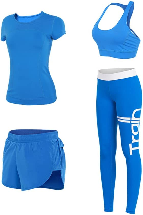 fanceey Four pieces Workout clothes women suit sportswear running clothing show thin speed drying tight pants four times yoga clothes