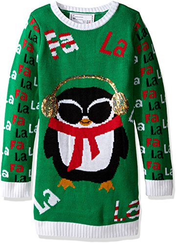 Price comparison product image Derek Heart Big Girls' Penguin with Headphones and Fa La Jacquard Christmas Sweater,  Green Combo,  Medium / 10 / 12