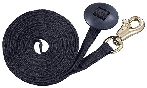 Tough 1 German Cord Cotton Lunge Line with Heavy Snap, Black