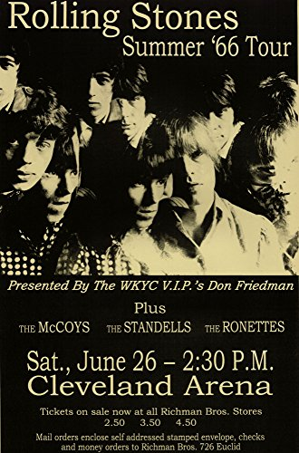 Innerwallz Rolling Stones - Live 1966 Retro Art Print - Poster Size - Print of Retro Concert Poster - Features Mick Jagger, Keith Richards, Brian Jones, Bill Wyman and Charlie Watts