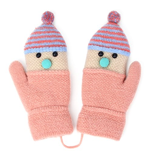 Flammi Kids Winter Warm Knit Mittens Plush Lining Gloves with String Xmas Snowman Shape