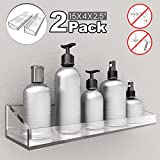 VDOMUS Acrylic Bathroom Shelves, Wall Mounted Non Drilling Thick Clear Storage & Display Shelvings, 2 Pack …