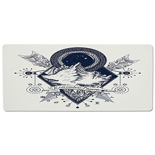 Pet Mat for Food and Water,Adventure,Mountains in Boho Tattoo Style with Crossed Arrows and Astrological Symbols Decorative,Dark Blue White,Rectangle Non-Slip Rubber Mat for Dogs and Cats -