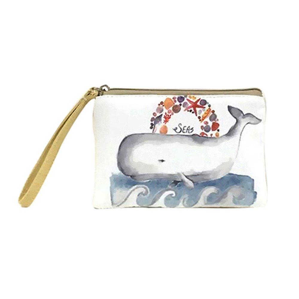 Powerfulline Women's Mini Cute Elephant Elk Whale Cat Printed Handbag Coin Purse Phone Bag