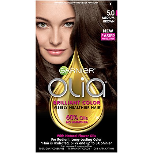 Garnier Olia Ammonia Free Permanent Hair Color, 100 Percent Gray Coverage (Packaging May Vary), 5.0 Medium Brown Hair Dye, 1 Kit ()