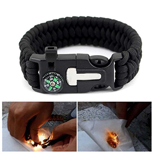 Outdoor Survival Camo Paracord Bracelet Flint Fire Starter Compass Whistle Gear by Unknown
