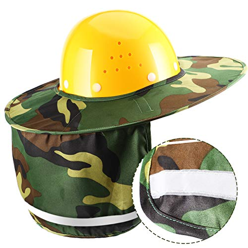 Jovitec 2 Pieces Helmet Sun Shade Hard Hat Sun Neck Shield with Full Brim, Reflective Stripe, Adhesive Hook for Safety Helmet (Camouflage) by Jovitec (Image #1)