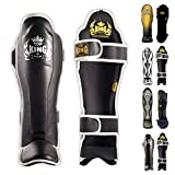 Top King Shin Guard Protector Empower Creativity Superstar Color Black White Size S M L XL for Protection in Muay Thai, Boxing, Kickboxing, MMA (Black/White,M)