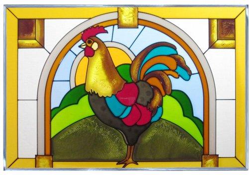 Rooster Horizontal Art Glass Panel 14 x 20
