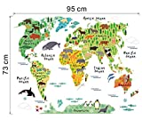 Creazy® Animal World Map Removable Decal Art Mural Home Decor Wall Stickers Picture