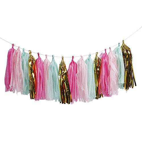ZOOYOO Tissue Paper Tassels, Tassel Garland Banner for Event & Party Supplies, 20 pcs DIY Kits - (Metallic Gold+Green+Hot Pink+Rose Red) (Tissue Paper Banner)