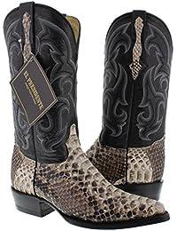 Men's Natural Genuine Python Back Snake Skin Cowboy Boots J Toe