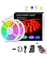 LED Strip Light 10M, TECHVIDA 32.8ft/10m 300 LEDs 16 Colors RGB SMD 5050 Strip Lights IP65 Waterproof Music Sync Rope Lighting Kit with 40-Keys IR Remote Controller and Power Supply for Bar Party TV