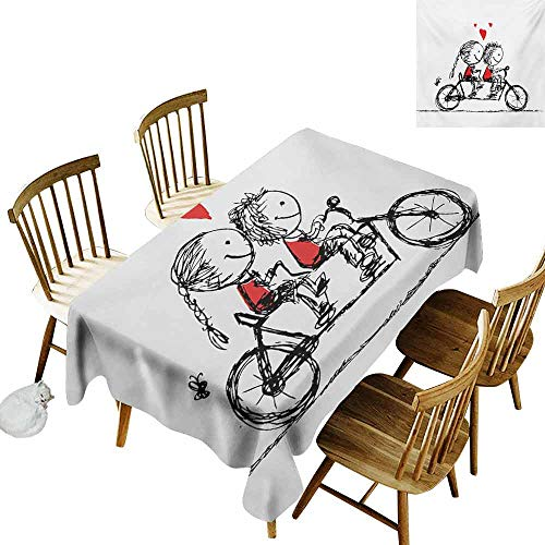 (Bicycle Rectangular Tablecloth Children Love Couple Cycling Together Soul Mates Valentines Sketchy Print Washable Tablecloth W50 x L80 Black White Scarlet)