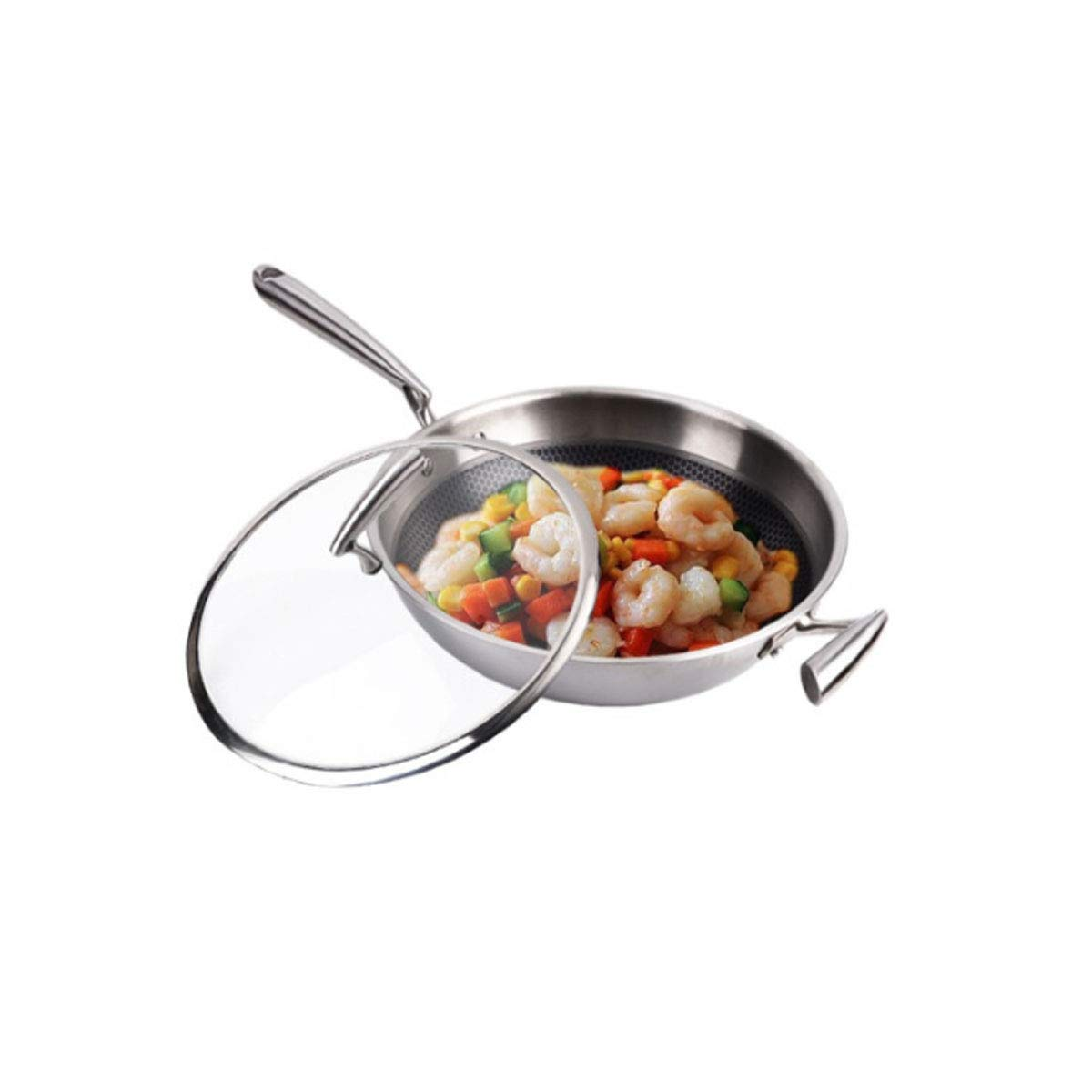 8haowenju Pan,304 Stainless Steel Wok, Gas Stove and Induction Cooker Can Be Used, Flat Bottom 12.8 Inch Wok, Silver White (Stainless Steel Cover) Multi-Purpose Pot (Color : Silver)