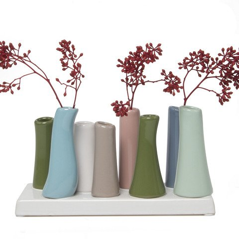 Chive - Pooley 2, Unique Ceramic Flower Vase, Low Rectangular Modern Decorative Vase for Home Decor Living Room Office and Centerpieces, Cedar Green Blue Pink