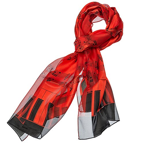 Music Note Scarf with Piano Key Edge (Red)