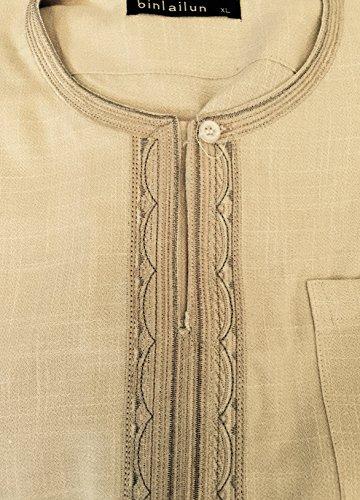 2 Piece Arabic Shirt Dress Islam Thobe Trouser North African Libya Afghan Long (XL, Beige)