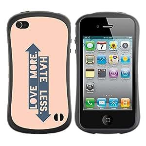 Fuerte Suave TPU GEL Caso Carcasa de Protección Funda para Apple Iphone 4 / 4S / Business Style Peach Arrow Love Hate Up Down Quote