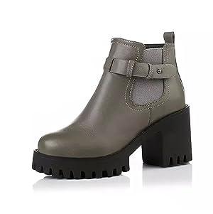 Venkes Women's Buckle Platform Round toe Chunky Heel Short Boots