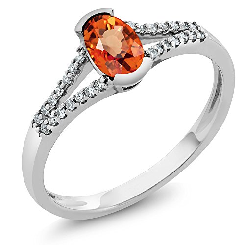 Gem Stone King 0.55 Ct Oval Orange Sapphire and Diamond 10K White Gold Ring (Size 9)