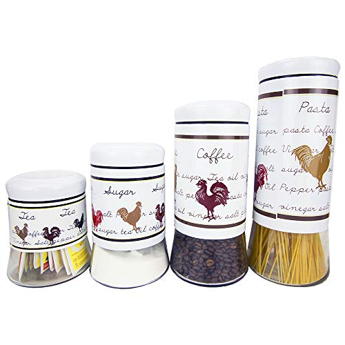 Home Basics Country Rooster Food Storage (4 Piece Canister Set)
