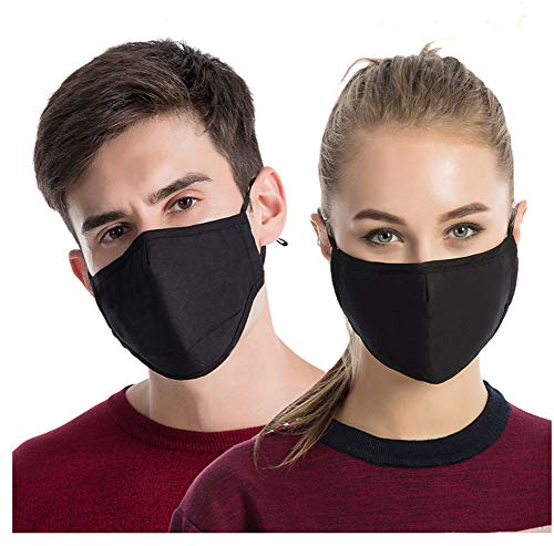 Reusable Headgear - 3PCS Dust Masks, Unisex Anti Pollen Allergens Flu Germs Surgical Mouth Muffle Reusable Cotton Gauze Mask with PM2.5 Activated Carbon Fliter Respirator Travel Outdoor Cycling Ski Warm Face Mask