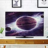Auraisehome Television Protector Space Theme Planets Saturn Mars and Neptune Science Fiction Solar Scene Artprint Mauve Television Protector W36 x H60 INCH/TV 65''