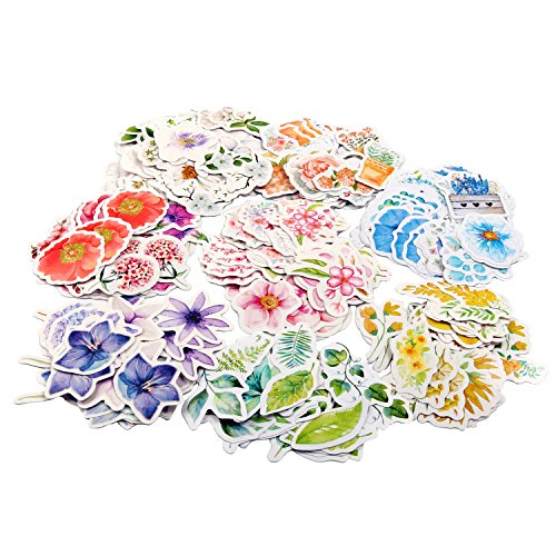 Molshine 360pcs Various Special Shaped Stickers-Flower Series Decals for Personalize Laptops, Skateboards, Luggage, Cars, Bumpers, Bikes, Bicycles,Books-8 Different Styles of Flowers by molshine