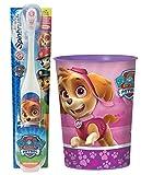 Paw Patrol Skye Toothbrush & Rinse Cup Bundle: 2 Items - Spinbrush Toothbrush, Pink Character Rinse Cup