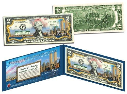 WORLD TRADE CENTER 9/11 Skyline COLORIZED Legal Tender $2 U.S. Bill NEVER...