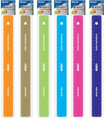 BAZIC Asstd Color 12'' (30cm) Stainless Steel Ruler w/ Non Skid Back, Case Pack of 288