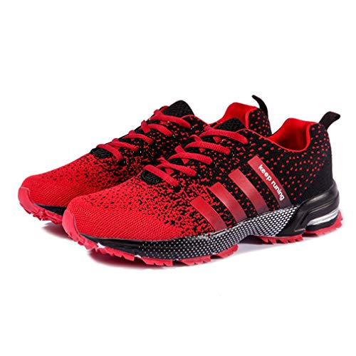 Hibote Fitness Sneakers Gym up 46 38 Walking Trainers Flats Breathable Laced Jogging Red Athletic Unisex Sport Shoes Running w1wgHRq